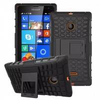 Антиударный силиконовый чехол экстрим защита с подставкой для Microsoft Lumia 435 Черный