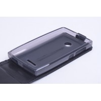 Чехол вертикальная книжка на силиконовой основе с магнитной застежкой для Microsoft Lumia 435 Черный