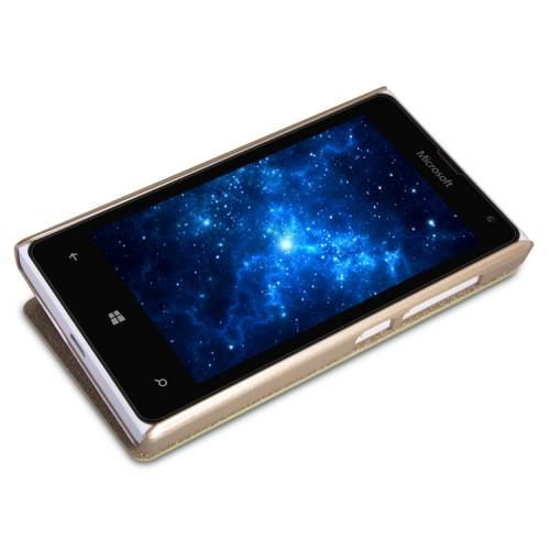 Чехол флип на пластиковой матовой нескользящей основе для Microsoft Lumia 435