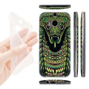 Силиконовый матовый дизайнерский чехол с эксклюзивной серией принтов для HTC One (M8) (изготовление на заказ)