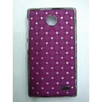 Пластиковый чехол с металлическим напылением и стразами для Nokia X Фиолетовый