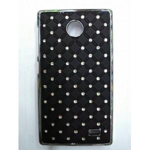 Пластиковый чехол с металлическим напылением и стразами для Nokia X