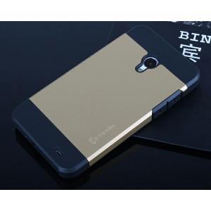 Двуцветный премиум силикон-пластик чехол для Meizu MX3 Бежевый