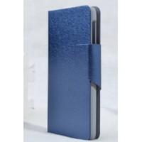 Текстурный чехол флип подставка на пластиковой основе с магнитной застежкой и отделением для карт для Lenovo S660 Синий