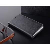 Кожаный чехол горизонтальная книжка с внутренними отсеками для HTC One Max Черный