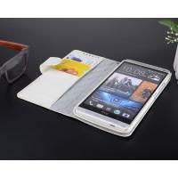 Кожаный чехол горизонтальная книжка с внутренними отсеками для HTC One Max Белый