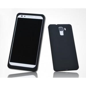 Силиконовый матовый софт-тач премиум чехол для Huawei Honor 7 Черный
