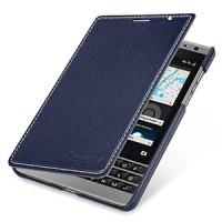 Кожаный чехол горизонтальная книжка (нат. кожа) для BlackBerry Passport Silver Edition Синий