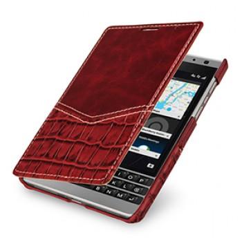 Эксклюзивный кожаный чехол горизонтальная книжка (2 вида нат. кожи) для BlackBerry Passport Silver Edition