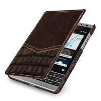 Эксклюзивный кожаный чехол горизонтальная книжка (2 вида нат. кожи) для BlackBerry Passport Silver Edition Коричневый
