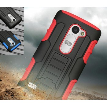 Трехкомпонентный ударостойкий силиконовый чехол с поликарбонатной крышкой и независимым защитным модулем для экрана на клипсе под ремень для LG Leon