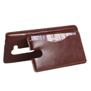 Чехол накладка подставка с отделением для карты для LG Leon Коричневый