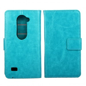 Чехол портмоне подставка с защелкой для LG Leon Голубой