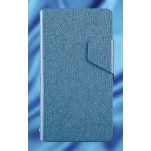 Текстурный чехол флип подставка на пластиковой основе для Sony Xperia ZR Голубой
