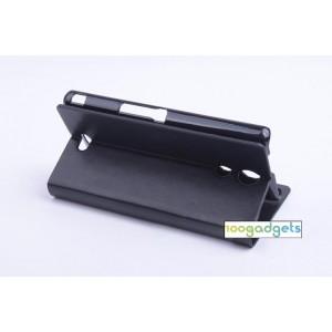 Чехол флип подставка на пластиковой основе с защелкой для Sony Xperia ZR Черный