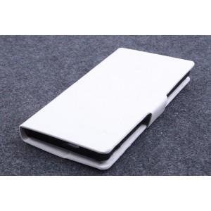Чехол флип подставка на пластиковой основе с защелкой для Sony Xperia ZR Белый