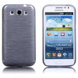 Силиконовый полурозрачный чехол текстура Металл для Samsung Galaxy Win Серый