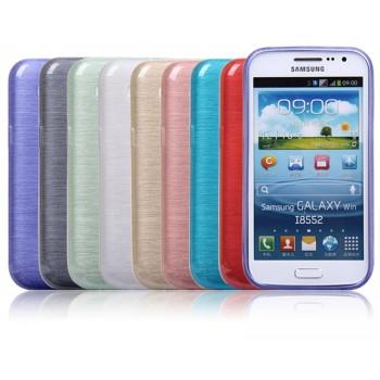 Силиконовый полурозрачный чехол текстура Металл для Samsung Galaxy Win
