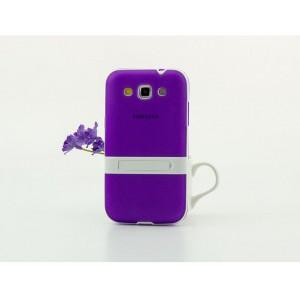 Двухкомпонентный силиконовый чехол с пластиковым каркасом-подставкой для Samsung Galaxy Win Фиолетовый