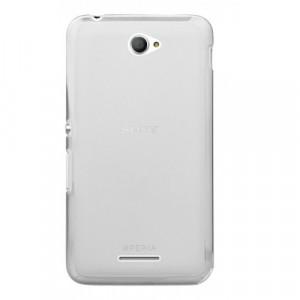Силиконовый матовый полупрозрачный чехол для Sony Xperia E4 Белый