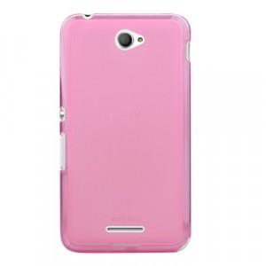 Силиконовый матовый полупрозрачный чехол для Sony Xperia E4 Розовый