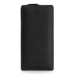 Кожаный чехол вертикальная книжка (нат. кожа) для Huawei Ascend P6 Черный