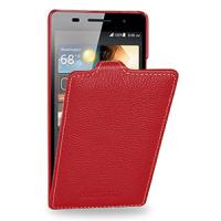 Кожаный чехол вертикальная книжка (нат. кожа) для Huawei Ascend P6 Красный