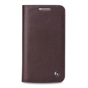 Кожаный дубленый чехол флип на пластиковой основе с отделением для карт для Samsung Galaxy Win Коричневый