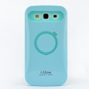 Силиконовый непрозрачный чехол со встроенной подставкой для Samsung Galaxy Win Голубой