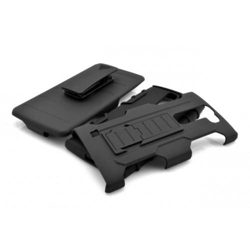 Трехкомпонентный ударостойкий силиконовый чехол с поликарбонатной крышкой и независимым защитным модулем для экрана на клипсе под ремень для LG G4c