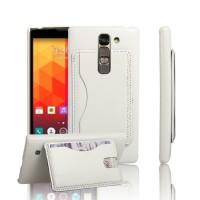 Чехол накладка с отделением для карты и кожаным покрытием для LG Magna Белый