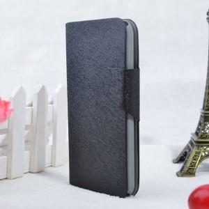 Текстурный чехол флип подставка с застежкой и отделением для карт для Nokia X2 Черный