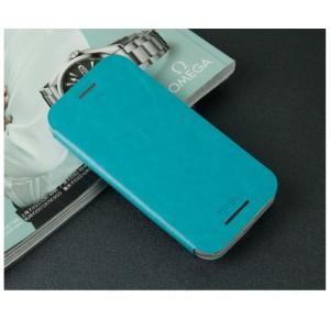 Чехол флип подставка водоотталкивающий для HTC One mini 2 Голубой