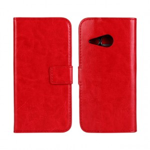 Глянцевый чехол портмоне подставка с защелкой для HTC One mini 2 Красный