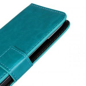Глянцевый чехол портмоне подставка с защелкой для HTC One mini 2 Голубой
