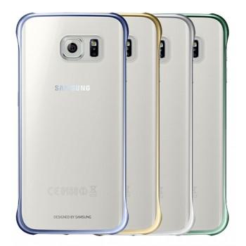 Оригинальный пластиковый транспарентный чехол с цветными границами (металлизированное напыление) для Samsung Galaxy S6