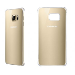 Оригинальный пластиковый транспарентный чехол с цветным олеофобным напылением для Samsung Galaxy S6 Edge Plus Бежевый