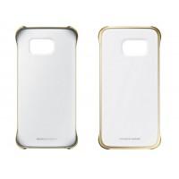 Оригинальный пластиковый транспарентный чехол с цветными границами (металлизированное напыление) для Samsung Galaxy S6 Edge Plus Бежевый