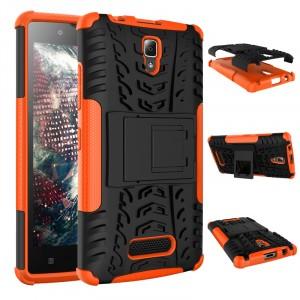 Антиударный силиконовый чехол экстрим защита с подставкой для Lenovo A2010 Оранжевый