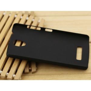 Пластиковый матовый Металлик чехол для Lenovo A2010 Черный