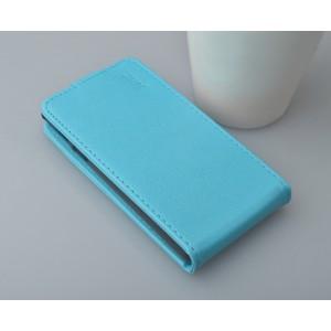 Глянцевый чехол вертикальная книжка на пластиковой основе с магнитной застежкой для Samsung Galaxy Core Голубой