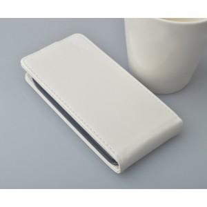 Глянцевый чехол вертикальная книжка на пластиковой основе с магнитной застежкой для Samsung Galaxy Core Белый