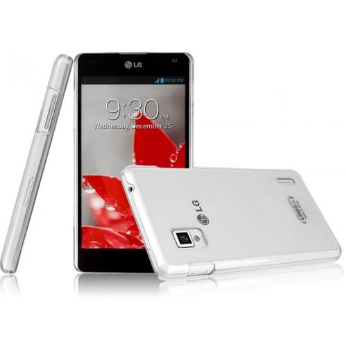 Пластиковый транспарентный олеофобный премиум чехол для LG Optimus G