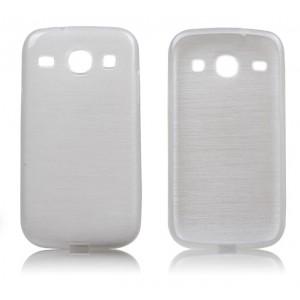 Силиконовый матовый полупрозрачный чехол текстура Металл для Samsung Galaxy Core