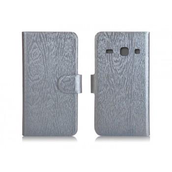 Чехол портмоне подставка с магнитной застежкой текстура Дерево для Samsung Galaxy Core