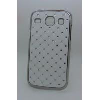 Чехол пластик/металл со стразами для Samsung Galaxy Core Белый