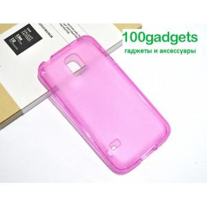 Силиконовый полупрозрачный чехол для Samsung Galaxy S5 Mini Розовый