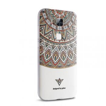 Силиконовый матовый дизайнерский чехол с объемно-рельефным принтом для Huawei G8