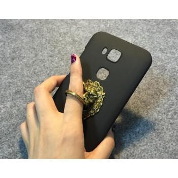 Пластиковый матовый непрозрачный чехол с металлическим антиграбежным кольцом-подставкой для Huawei G8