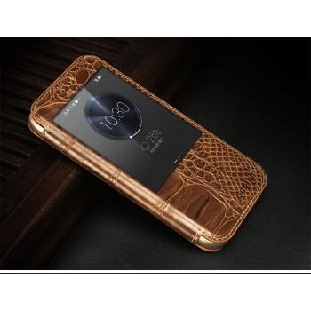 Тонкий кожаный смартчехол горизонтальная книжка (нат. кожа крокодила) подставка с окном вызова для Huawei G8